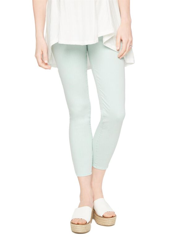 Luxe Essentials Denim Secret Fit Belly Skinny Crop Maternity Jeans, Opal Blue