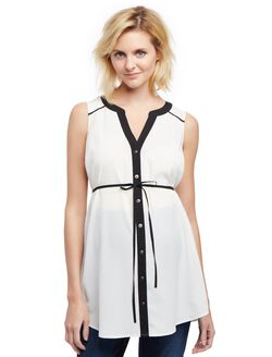 Sleeveless Button Front Maternity Tunic, Egret