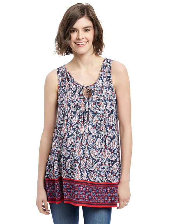 Pleated Maternity Tank Top, Red Blue Border