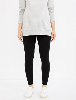 Secret Fit Belly French Terry Maternity Leggings, Black