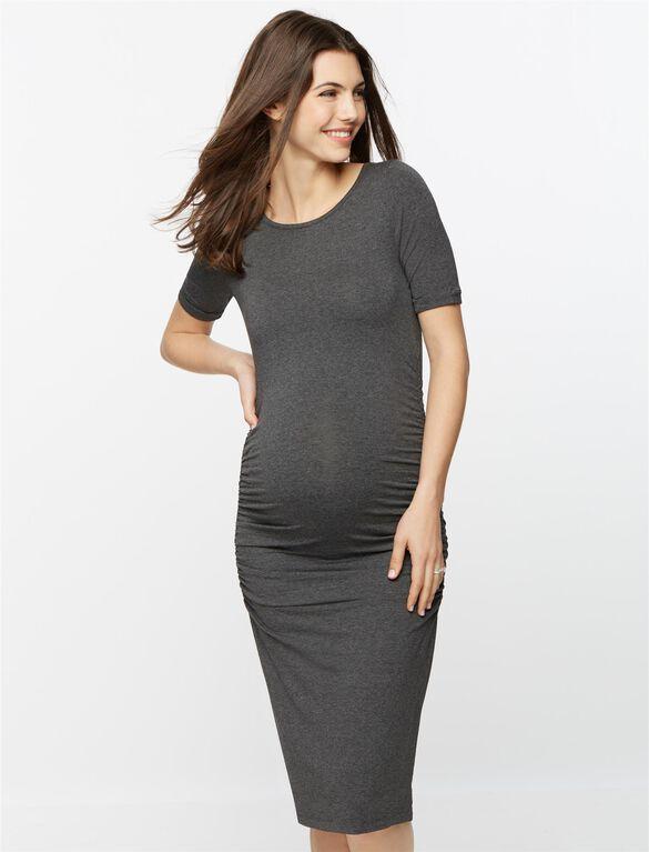 Isabella Oliver Maternity T-shirt Dress- Grey, Dark Grey Marl