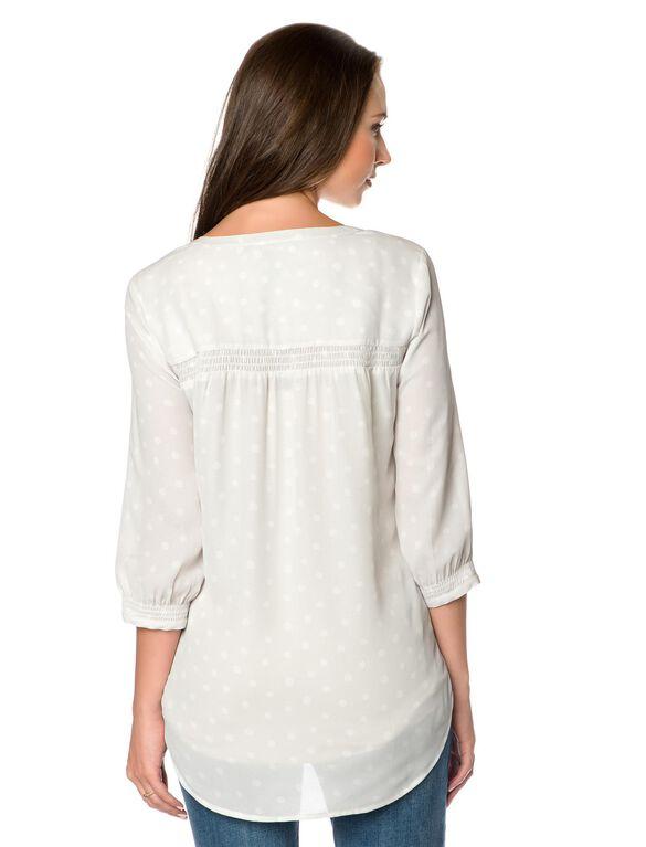 Daniel Rainn Smocked Maternity Shirt, White/Grey Dot