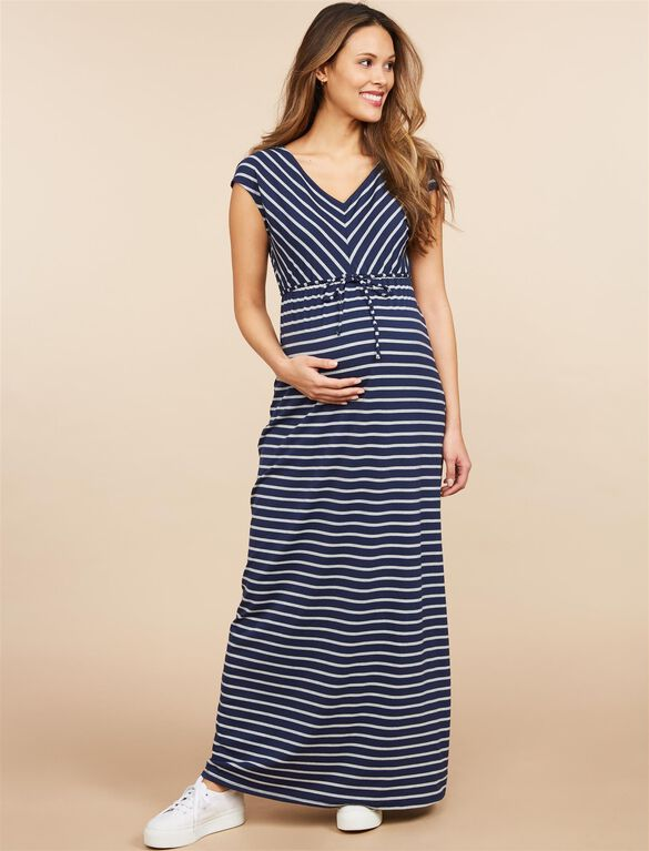Striped Drawstring Maternity Maxi Dress, Black/White Stripe