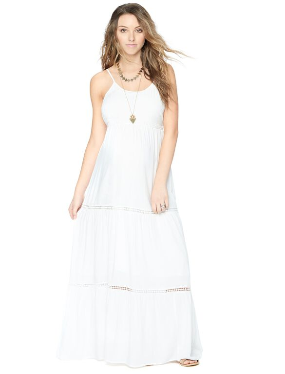 Spaghetti Strap Tiered Maternity Maxi Dress, White