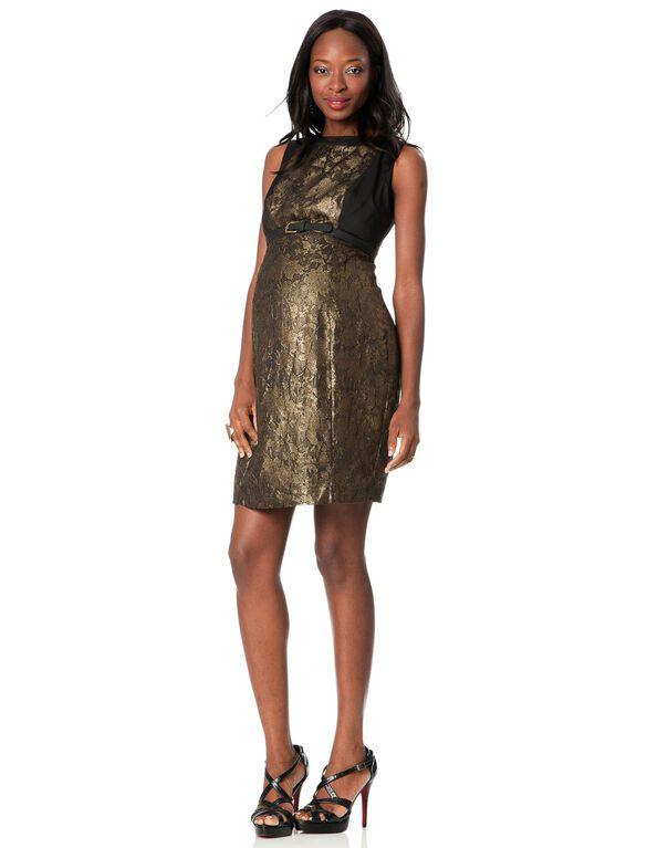 Sheath Maternity Dress, Black/Gold