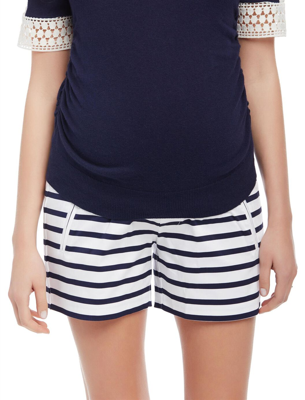 Secret Fit Belly Sateen Maternity Shorts- Stripe at Motherhood Maternity in Victor, NY | Tuggl
