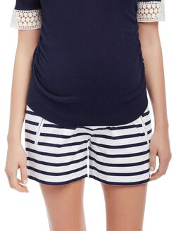Secret Fit Belly Sateen Maternity Shorts- Stripe, Navy/White Stripe