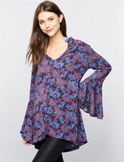 Free People Button Front Maternity Tunic, Wine Print