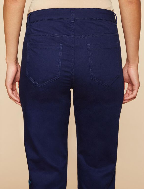 Front Panel Twill Straight Leg Maternity Pants, NAVY