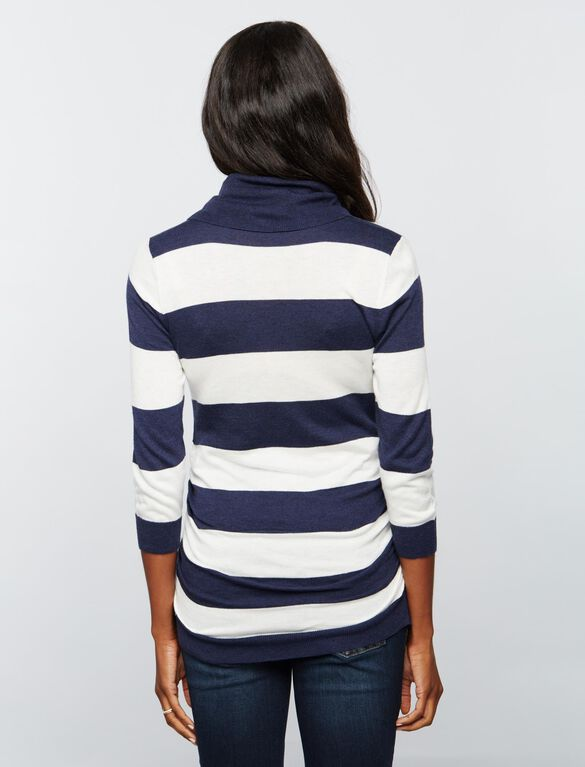 Striped Cowl Maternity Sweater, Navy/White Stripe