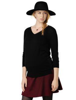 Knit Woven Combo Hi-Lo Maternity Sweater, Black