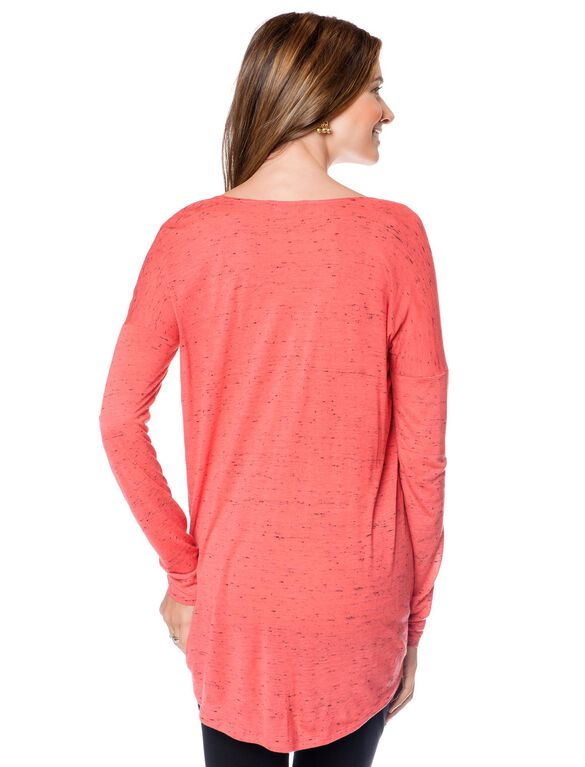 Isabella Oliver Marled Cotton Maternity Shirt, Sunset Orange Marl