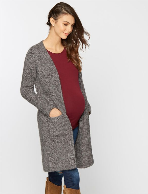 Open Front Maternity Cardigan, Heather Grey