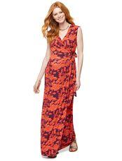 Wrap V Neck Maxi Maternity Dress, Multi Stripe