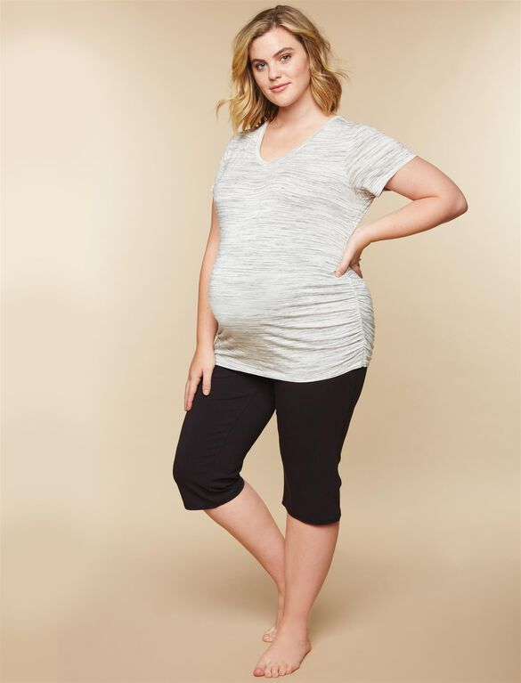 Plus Size Secret Fit Belly Boot Cut Maternity Yoga Pants, Black