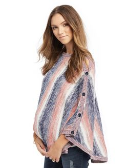 Poncho Maternity Sweater, Multi Stripe