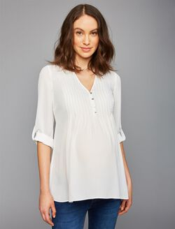 Convertible Sleeve Maternity Blouse, Soft White