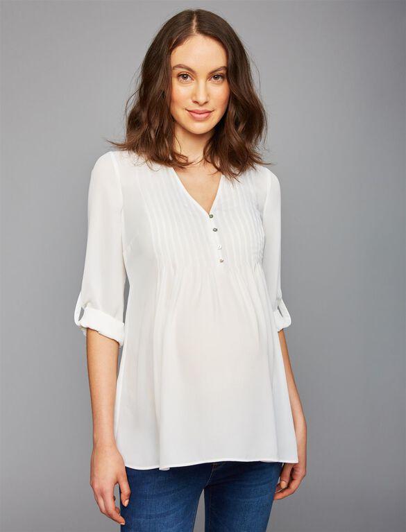 Convertible Sleeve Maternity Blouse, Soft White