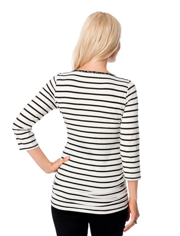 Striped Side Ruched Maternity Top, Black White Stripe