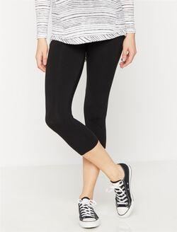 Luxe Essentials Secret Fit Belly Crop Maternity Leggings, Black