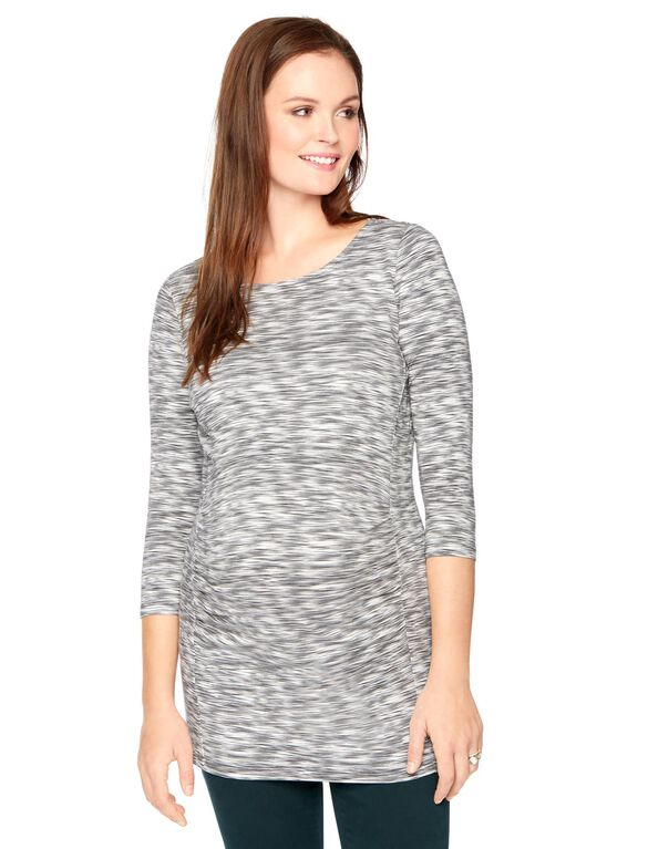 Stitch Detail Maternity Tunic, Grey Spacedye Print