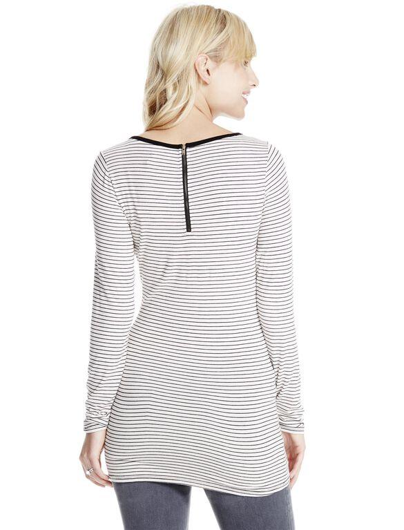 Jessica Simpson Zipper Detail Maternity Top- Black/White, White/Black Stripe