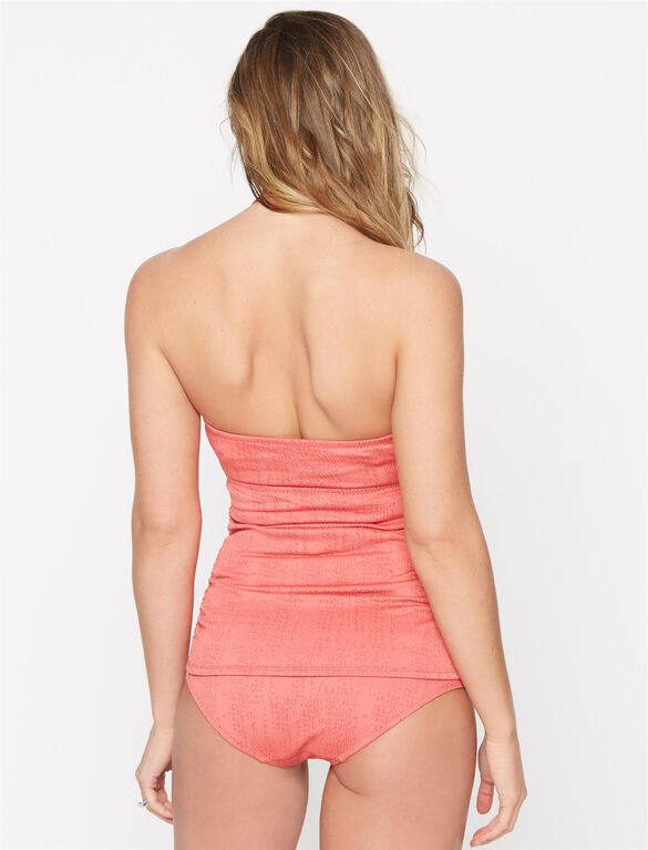 Knot Front Maternity Tankini Swimsuit, Rose Red