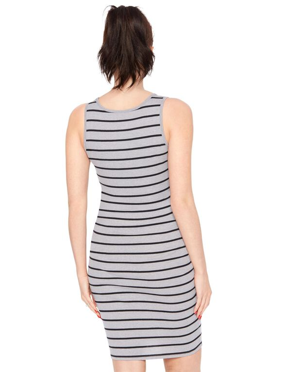 Bumpstart Striped Maternity Dress, Grey/White Stripe