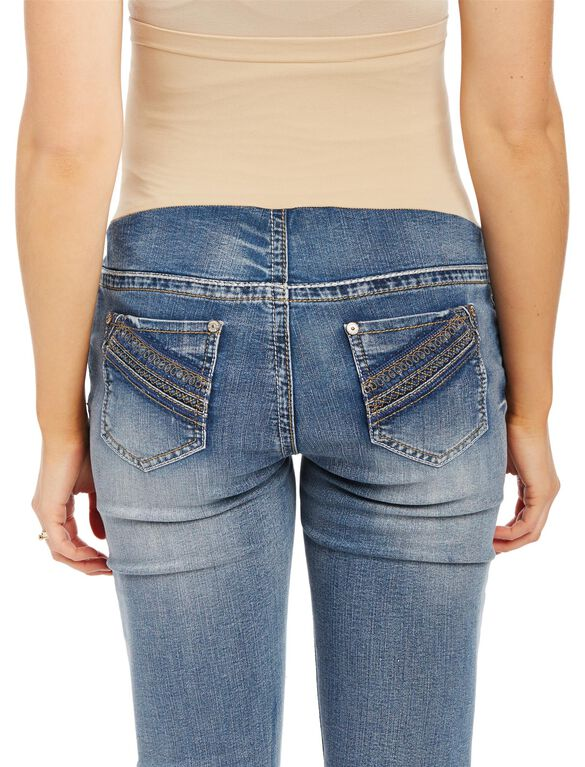 Secret Fit Belly Stitched Pocket Boot Cut Maternity Jeans, Light Wash