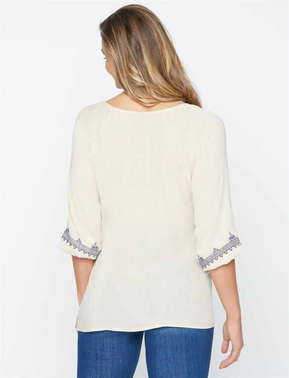 Embroidery Maternity Blouse, Cream