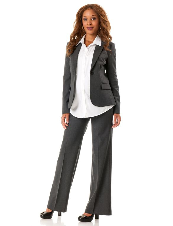 Button Front Bi-stretch Suiting Maternity Jacket, Charcoal