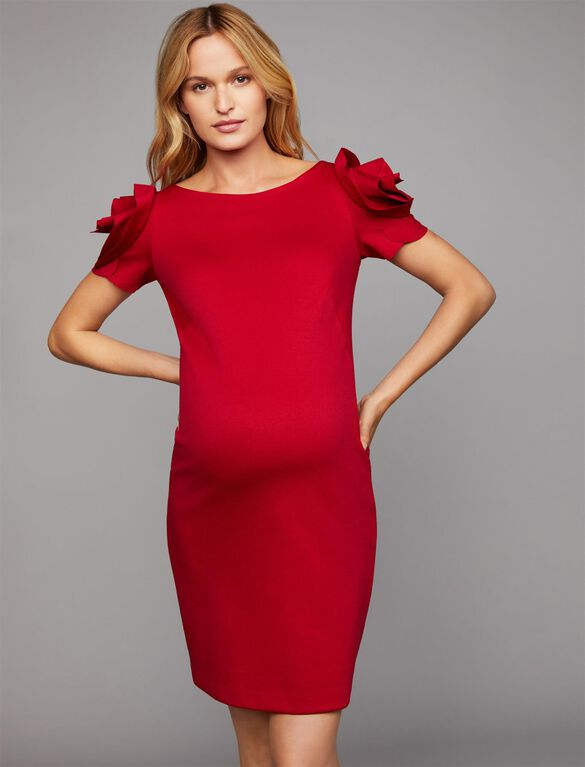Pietro Brunelli Ruffled Maternity Dress, Red