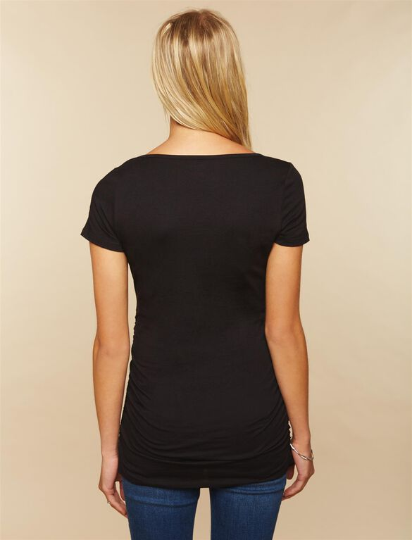 Side Ruched Maternity Tee, Black