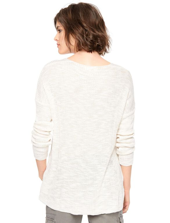 Lace Up Maternity Pullover Sweater, Cream