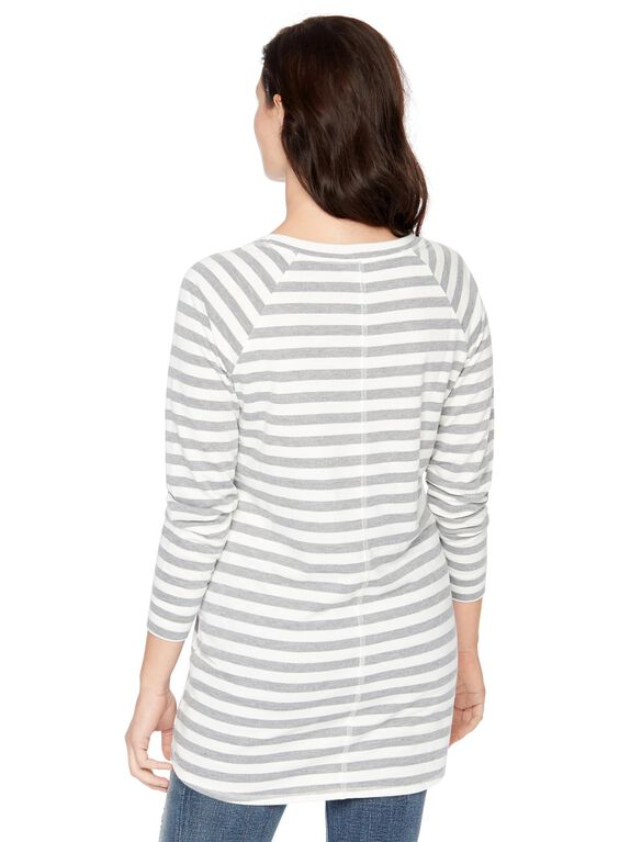 Striped Maternity Top, Gry/Wht Stripe