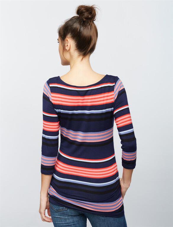 Striped Boat Neck Maternity Tee, Navy/Pink Stripe