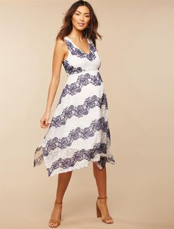 Jessica Simpson Hanky Hem Maternity Dress, Cloud Dancer Stripe