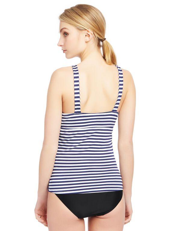 Striped Keyhole Maternity Tankini Top, Navy&white Stripe