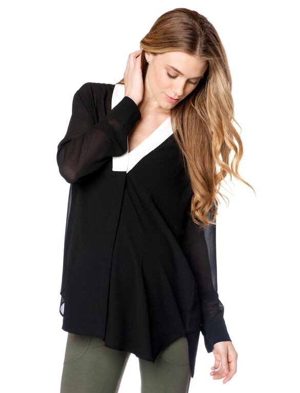 Colorblock Maternity Blouse, Black