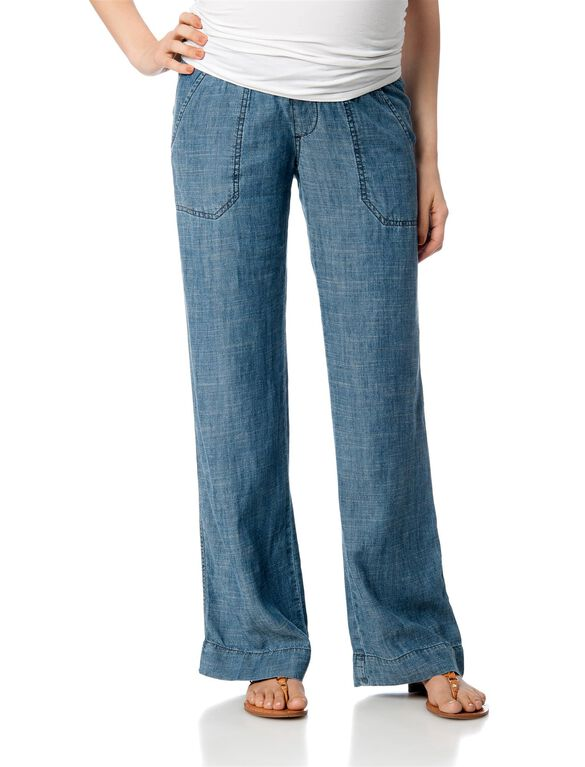 Pull On Style Chambray Wide Leg Maternity Pants, Chambray