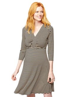 Pleated Striped V Neck Maternity Dress, Black/Camel Striped