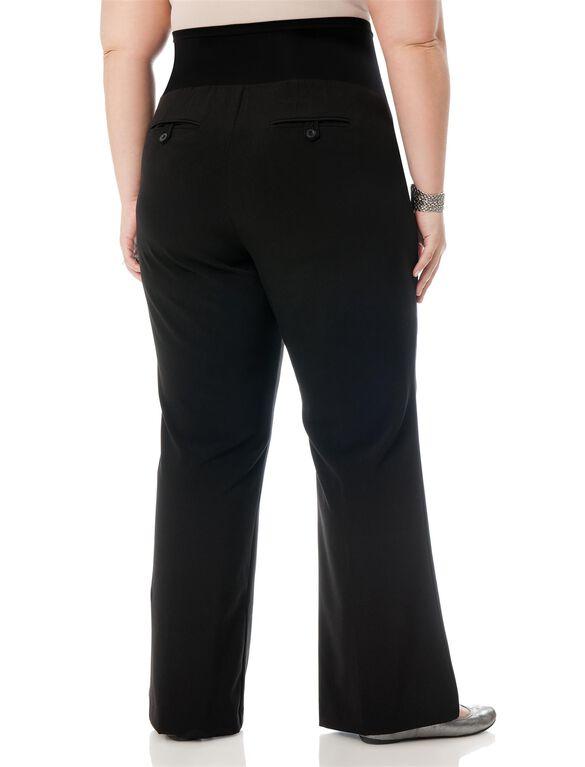 Motherhood Petite Plus Boot Cut Suiting Maternity Pants, Black