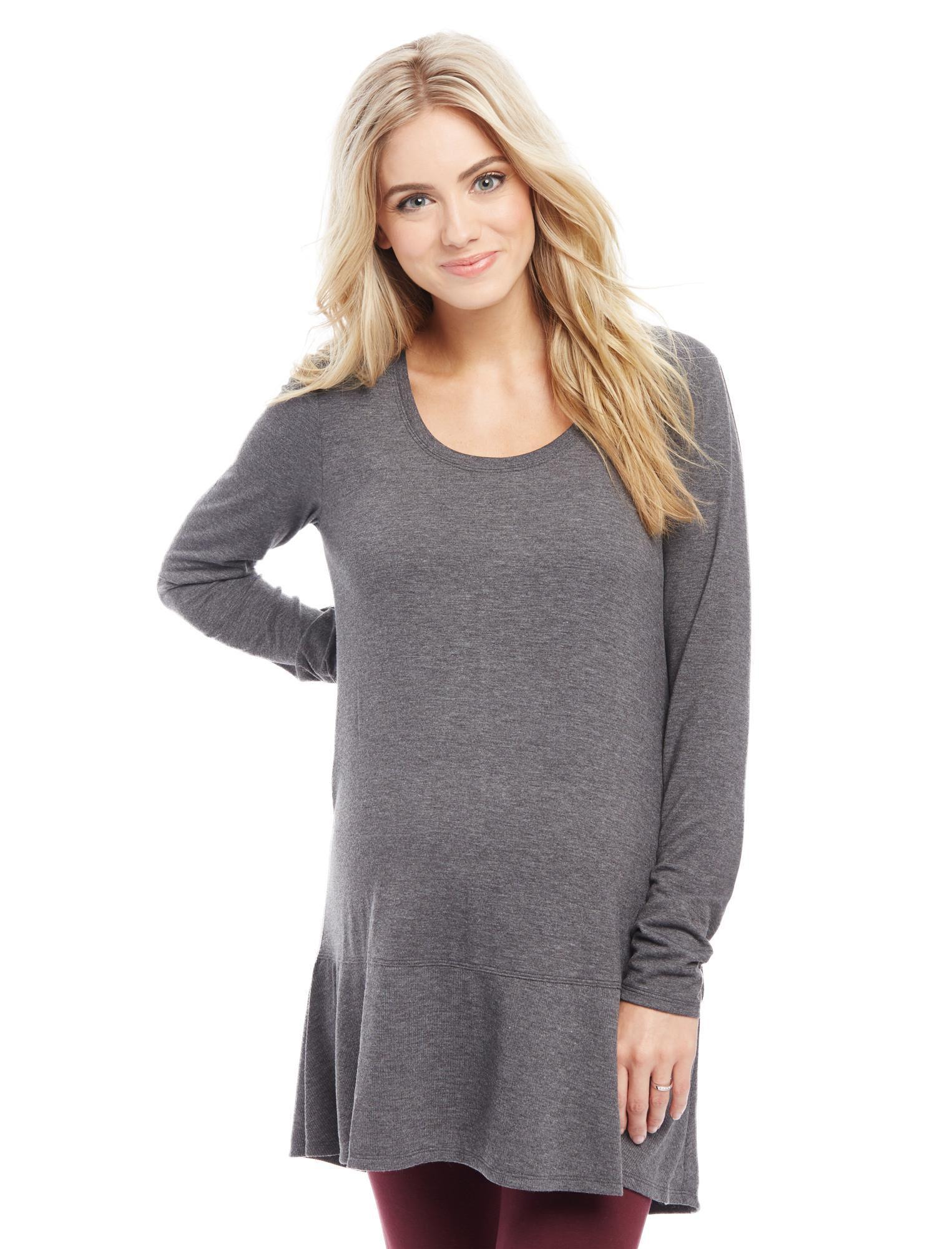 Long Sleeve Rib Knit Hem Maternity Tunic