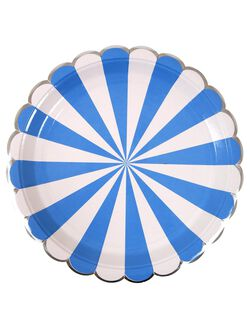Meri Meri Striped Large Paper Plates, Blue Stripe