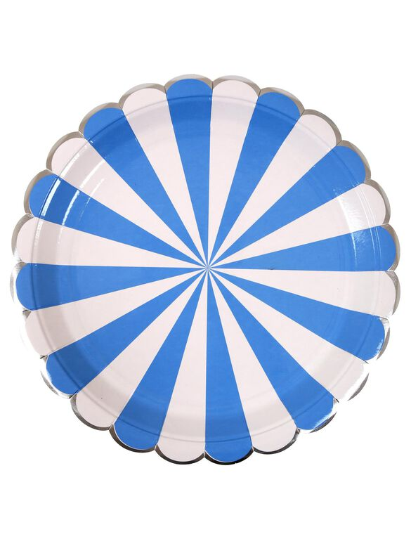 Meri Meri Striped Large Paper Plates, Blue Stripe