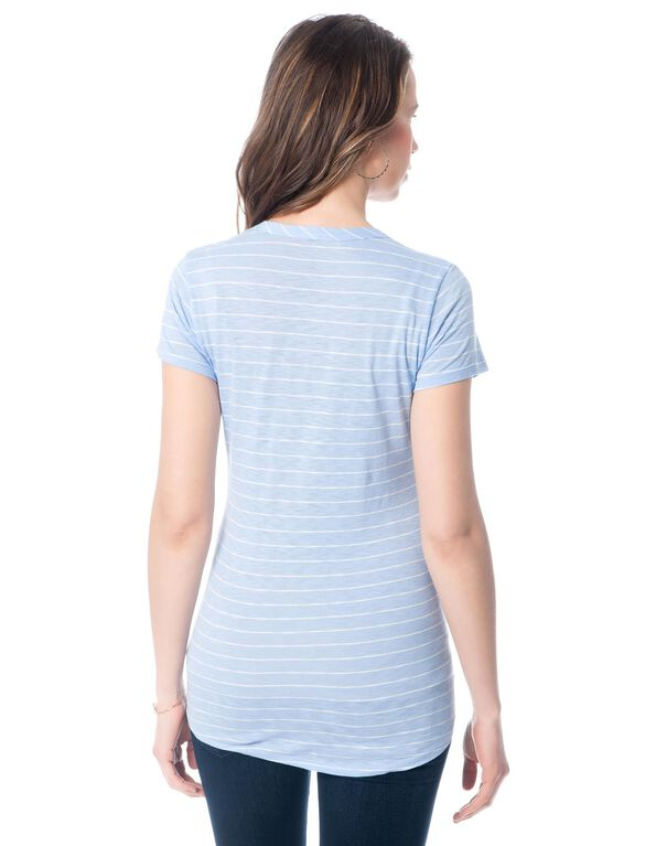 High-low Hem Maternity T Shirt, Capri Blue/White