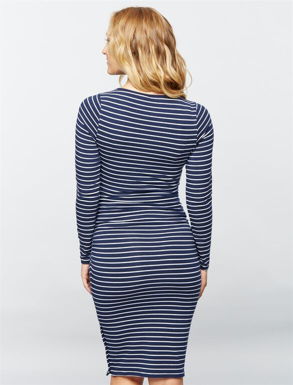 Striped Long Sleeve Maternity Dress, Navy