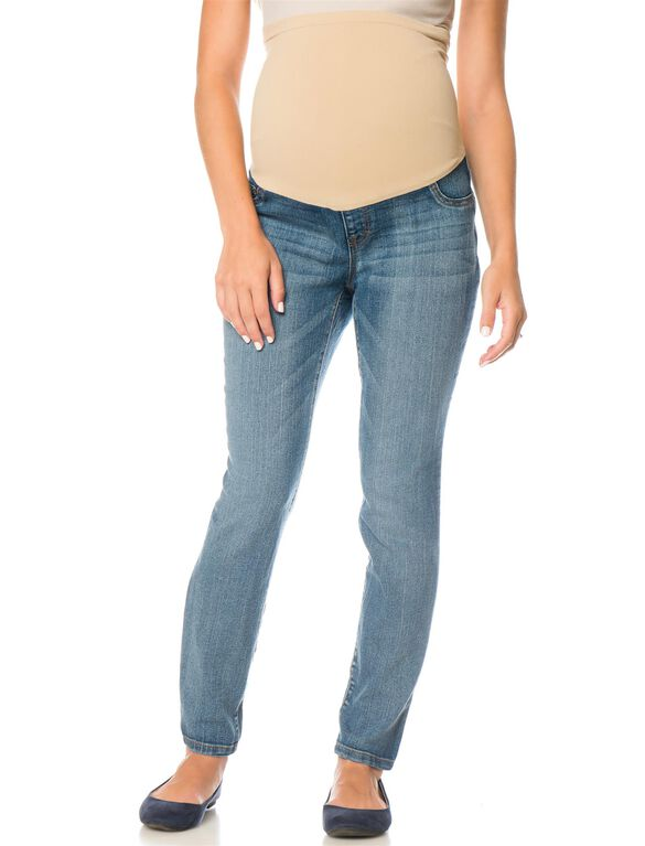Motherhood Indigo Blue Petite Skinny Leg Maternity Jeans, Coastal Blue Wash