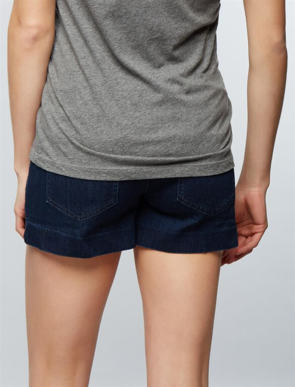 Luxe Essentials Denim Secret Fit Belly Tailored Maternity Shorts, Dark Wash