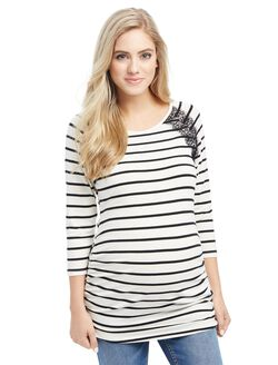 Ruched Maternity Top, Black/White Stripe